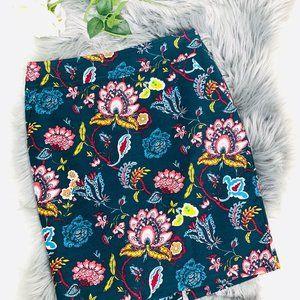 ANN TAYLOR LOFT Teal Floral Garden Lined Skirt